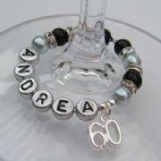 60th Birthday Personalised Wine Glass Charm - Full Sparkle Style